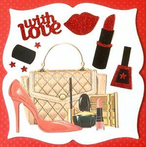 Handmade By Susie Glitter Make Up Handbag Shoe Card Topper FLAT RATE UK P&P
