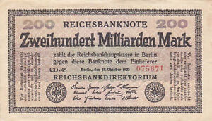 200 MILLIARDEN MARK VERY FINE BANKNOTE FROM GERMANY 1923 PICK-121 RARE
