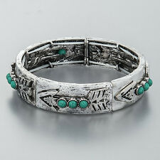 Antique Silver Arrow Design Turquoise Beads Stretchable Hammered Bangle Bracelet