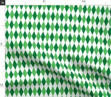 New listing Green Diamond Candycane Harlequin Spoonflower Fabric by the Yard