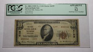 $10 1929 Yukon Oklahoma OK National Currency Bank Note Bill Ch. #6159 F12 PCGS