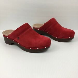 Vionic Kacie Clogs in Cherry Suede Women's Size 7 Red NEW