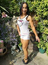 Senhoras ~ Hello Kitty ~ Jewelled Preto E Branco Listrado verão, colete top ~ Médio