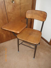 Vintage Old Heywood Wakefield Student School Desk Chair With Tray Art Deco Retro