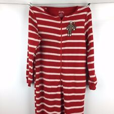 Nick & Nora Womens Small Foot Pajama PJs Red White Candy Cane Stripe Sock Monkey