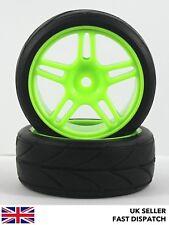 2 X 5-habló las ruedas & Verde sobre Carretera Neumáticos 1/10th Touring Coche RC * pre pegado * 12mm