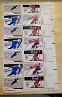 US Stamp 15 cent Winter Olympics Block of 14 Skiing Skating Hockey 1980