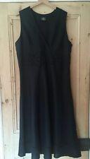 Vintage Laura Ashley Black Broderie Anglaise Lace 100% Linen Midi Dress Size 16