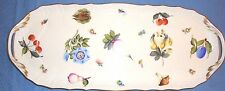 """HEREND SANDWICH TRAY LARGE 17.5"""" Length     Fruits &Flowers Motif1435/FRN"""
