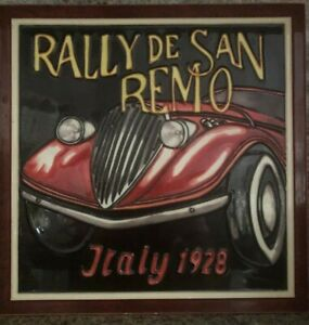 Artistic Wall Art Tile - 1928 SAN REMO RALLY, Italy - by artist Marco Fabiano