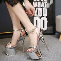 Women's Ankle Strap Platform Super High Heels Rhinestone Peep Toe Clubwear Shoes