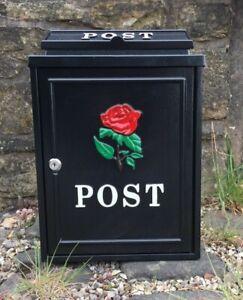 Black Steel Post box, Mailbox Red Rose Logo for Garden,Driveway,Gate Entrance