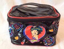 Betty Boop Cartoon Logo Black Patent Vinyl Cosmetic Case With Hearts