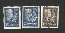SWEDEN-3 used stamps-atterbom-1955.