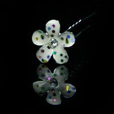 One White Flower With Rainbow Sparkles Bridal Wedding Hair Pin
