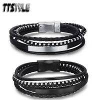 TTstyle Black Leather 316L Stainless Steel Bead ID Magnet Buckle Wristband NEW