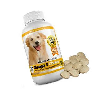 Amazing Omega 3 for Dogs - Dog Fish Oil Supplement - Allergy Itch Relief, Shi...