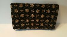Vintage Women's Hand Beaded Clutch Purse Art Deco Made In India Gold tone thread