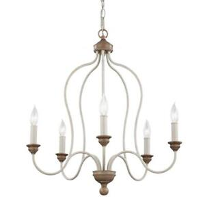 5-Light Country Coastal Farmhouse Chandelier Resin Hardwired Ambient White