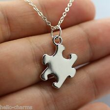 Autism Charm Necklace - Rhodium Plated Autism Awareness Puzzle Charm Jewelry NEW