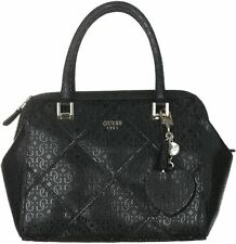 NWT GUESS Winnett Logo embossed Box Satchel Handbag Purse Black Quilted
