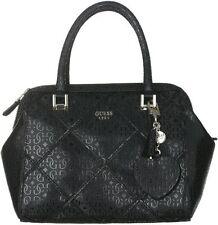 NWT GUESS Winnett Logo embossed Box Satchel Handbag Purse Black Quilted