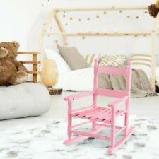 Classic Pink Wooden Children Kids Rocking Chair Slat Back Furniture Bedroom
