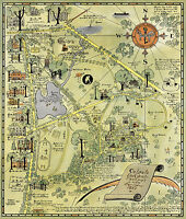 1927 Pictorial Map Colgate University Campus and Environs Ready to Frame Repro