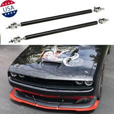 2x JDM Black Bumper Lip Splitter Strut Rod Tie Support Bars for Dodge Challenger