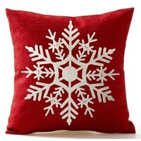 T8 Beautiful Snowflake In Red Merry Christmas Gifts flax Throw Pillow Case I