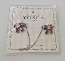 "NEW Gerard Yosca Pink Crystal Bow ""The Sweater Keeper"" Cardigan Clip $65 - RARE!"