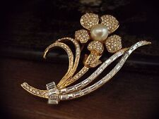 Vintage Large Flower Brooch Gold Plated Clear Baguette Crystal & Pearl. Gabbana