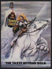 1986 SEXY WARRIOR WOMAN w/ Sword Rides POLAR BEAR - RUMPLE MINZE VINTAGE AD