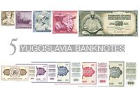 YUGOSLAVIA 10 - 500 DINAR SET OF 5 BANKNOTES 1968 - 1986 UNC BANKNOTEN SET UNZ