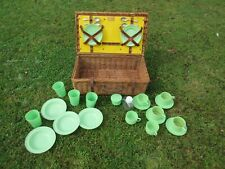 More details for vintage coracle wicker picnic basket hamper box + early plastic picnic ware