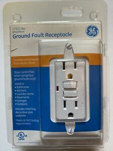 GE White Ground Fault Receptacle with Wall  Plate 120V/15A 17822 NEW SEALED
