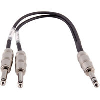 1 Foot 1/4 Inch TRS Male to Dual 1/4 Inch TS Y Splitter Cable - Interface Cord