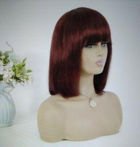 "12AA 14"" Bob Wig Straight 99j Burgundy Brazilian Human Hair Virgin CUSTOMED"