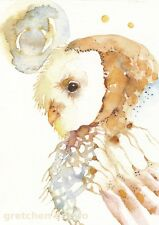 GREETING CARD spiritual art watercolor spirit totem barn owl 'APACHE'