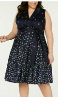 Anne Klein Womens Plus Size 24W Polka Dot Floral Fit & Flare A-line Dress Navy