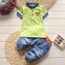 2pcs Kids Baby Boys Outfits Short Sleeve T-shirt tops+shorts Clothes set