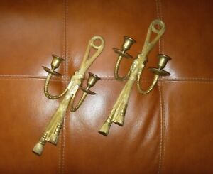 Candle Holder Sconces Hollywood Regency Neoclassical Style Brass Rope Tassels