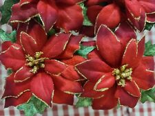 """New listing Set 4 Poinsettia Fabric 3"""" Napkin Rings Red Gold Glittery"""