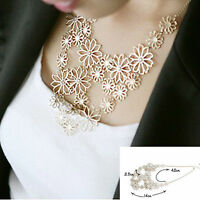 New Charm Jewelry Flower Bib Choker Flower Chunky Statement Collar Necklace