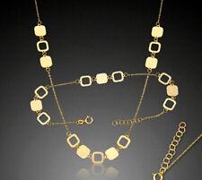 ECHT GOLD *** Set Feines Collier Kette + Armband, Viereck-Motiv 17/19, 42/45  cm