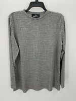 Dennis Basso  Womens L Large Gray Waffle Weave Long Sleeve Crew Neck Top