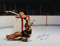 Gerry Cheevers HOF Autographed 16x20 Sliding Save Photo- JSA W Authenticated