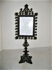 Antique Porcelain LITHOPHANE on Figural Iron Stand Vintage Victorian c1850