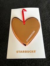 New 2017 Starbucks Rose Gold Ceramic Heart Ornament Valentines Day Coffee Lover