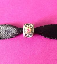 Authentic Pandora Sterling Silver,14k Gold Double Heart Pink Sapphire #79038PSA